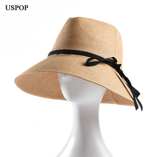 USPOP 2019 new women straw hat summer natural sun jazz bow-knot wide brim beach