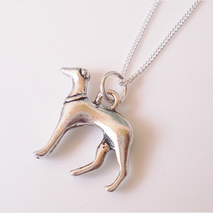Greyhound Whippet Dog-Charms Pendant Fashion Jewelry Vintage Silver Statement Sweater Chain Necklace Pendant jewelry Free -94