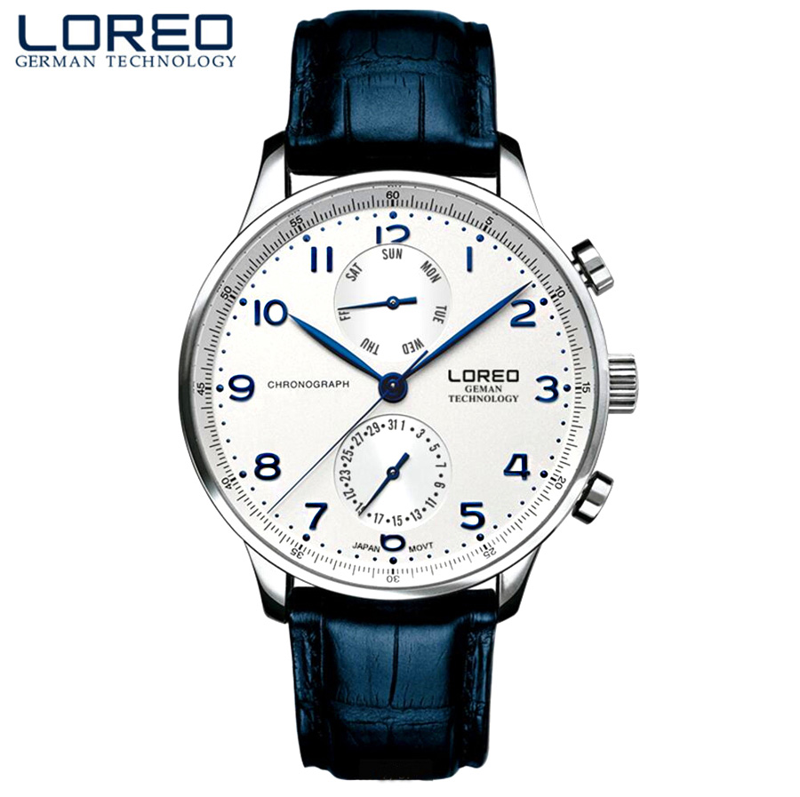 LOREO Mens Watches Brand Luxury Leather Casual Quartz Watch Men Military Sport Waterproof Clock Diving Watch Relogio Masculino loreo casual mens watches brand luxury leather men military wrist watch fashion men sports quartz watch relogio masculino m32