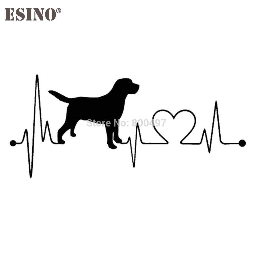 Lovely Car Styling Pet Dog Labrador Retriever Heart Beat Reflective Auto Decal Cartoon Car Stickers On Car Body Windows