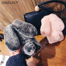 For Sumsung Galaxy S10 S9 S8 Plus S7 S6 edge Note8 Note9 Soft TPU 3D Cute Rabbit Etui Hairy Warm Fur Doll Rhinestone Plush Cases