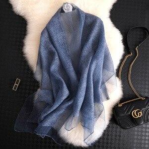 Image 2 - Foulard en soie pour femmes, Foulard solide, Pashmina, châle, grande taille, serviette de plage, Bandana, Hijab musulman, 2020