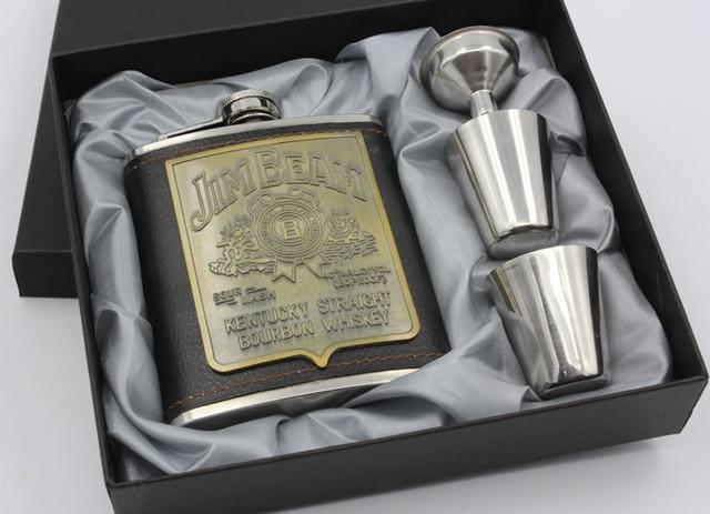 7oz Stainless Steel Hip Flask 4pcs set Metal Wine Pot Portable Flagon Whiskey Wine Bottle Gift Travelling Hunting Hip Flask