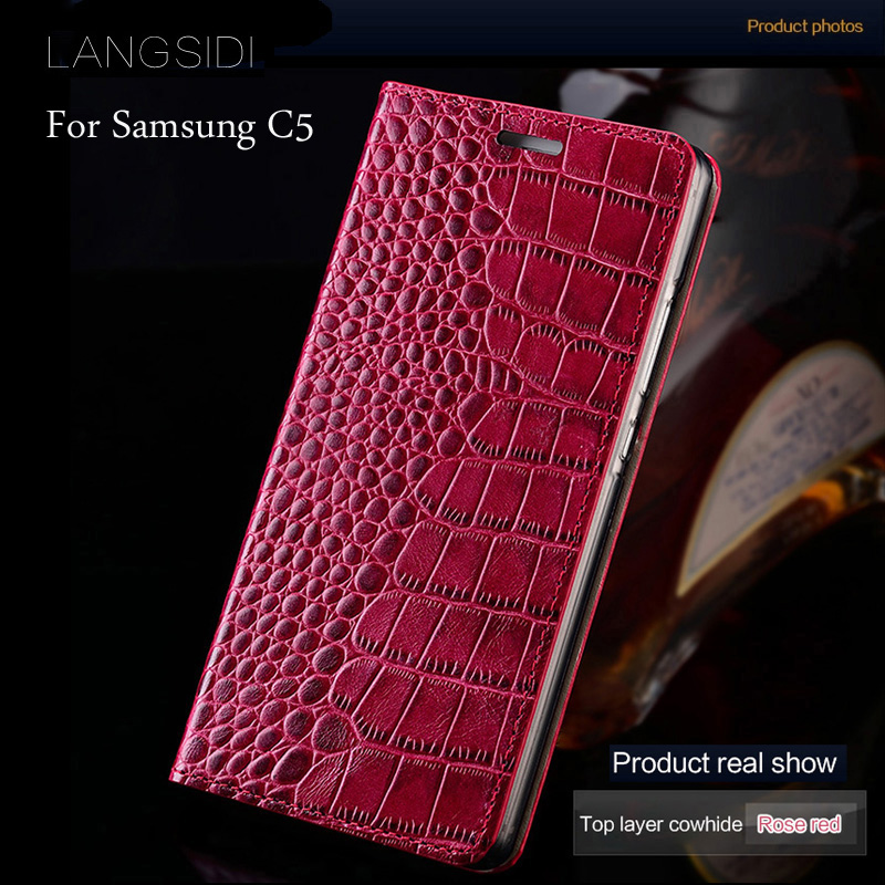 wangcangli brand mobile phone case genuine leather crocodile Flat texture phone case For Samsung Galaxy C5 handmade phone case