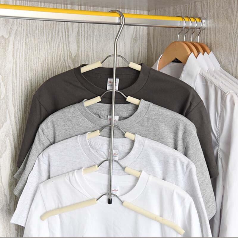 LASPERAL 5 Schicht Aufhänger Fischgräte Form Edelstahl Kleidung Lagerung Regale Kleidung Lagerhalter Rack Kleiderschrank Hängen