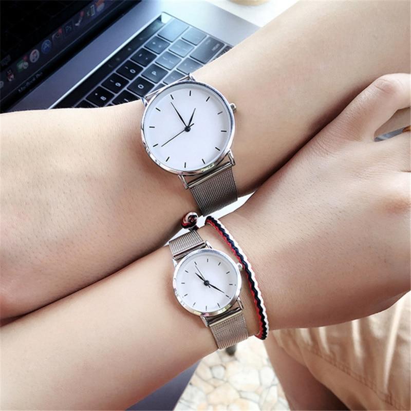 Fashion Minimalism Style Women's Watch Blue Pointer Simple Silver Watch Women Quartz Clock Stainless Steel Mesh Band Wristwatch