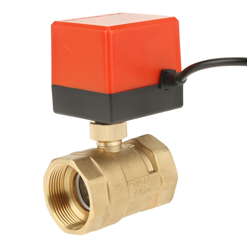 "DC 12V G1-1//2/"" DN40 2 Way Brass Motorized Actuator Ball Valve  Air Conditioner"