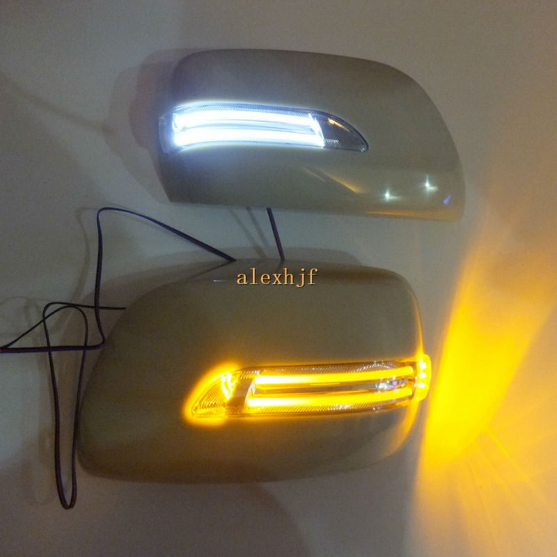 LED Rear-view Mirror Lights With Cover Case for Toyota Land Cruise FJ200 / LC200 Lexus LX570, Yellow Turn Signal Light+White DRL