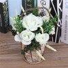 New Arrival Countryside Artificial Flowers Arrangement Decorative Basket Silk Rose Fake Plants Grass For Garden Home