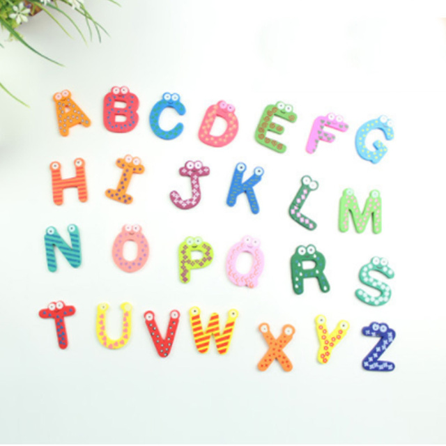 Party Gift Home Decor Multicolor  Wooden Fridge Magnet Educational Toy Symbol Alphabet Numbers  Cartoon Baby Kid  2