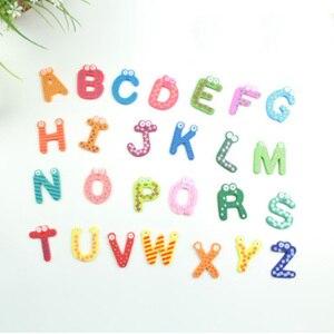 Image 2 - حفلة هدية ديكور المنزل متعدد الألوان خشبية مغناطيس الثلاجة لعبة تعليمية رمز الأبجدية أرقام الكرتون طفل رضيع
