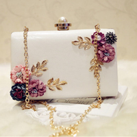 Hot Sale Fashion Women Leather Evening Bag Dinner Party Lady Wedding Flower Clutch Purse White