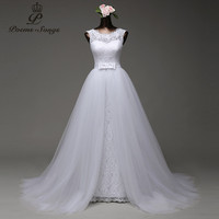 Poemssongs custom made high quality mermaid wedding dress with tulle detachable train vestido de noivas