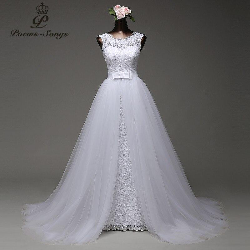 Poemssongs изготовление под заказ высокого качества Русалка торжественное платье с Тюль съемный шлейф платья vestido Де noivas