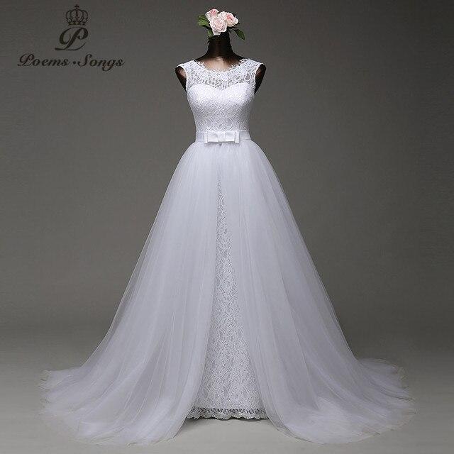 Poemssongs изготовление под заказ Высокое качество Русалка свадебное платье с Тюль съемный шлейф платья Vestido Де Noivas