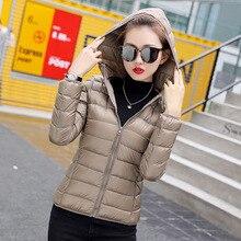 155cdbbd72a14 Hiver femmes doudoune ultra légère duvet de canard blanc vestes à capuche à  manches longues manteau chaud Parka femme solide Por.