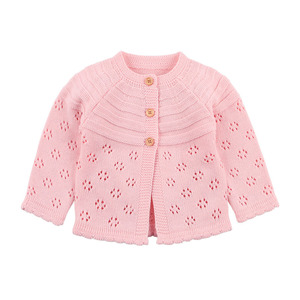 Image 3 - Baby Girls Cardigan Toddler Sweater Infant Coat Hollow Out Fashion Cute Infant Girls Knitted Jacket RT197