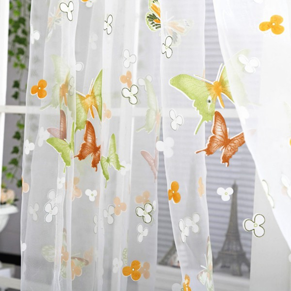 Aliexpress.com : Buy Beautiful Purple Green Butterfly Printed Tube Sheer  Voile Curtain Living Room Kitchen Cafe Decorative Tulle Window Curtain  CL507 From ...
