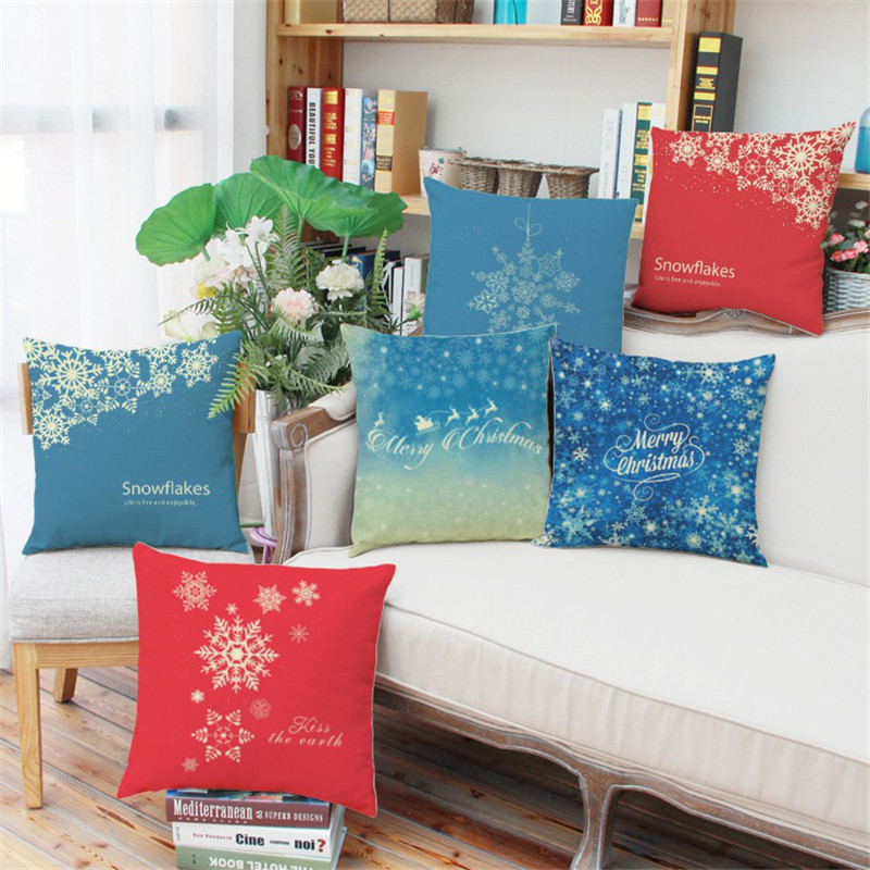 Festival Christmas Snow blue red pattern home hotel club Decoration Cushion Cover Pillow Throw Pillows Santa Claus New Year Gift