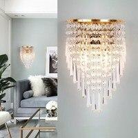 Led de cristal lâmpada de parede luzes de parede ASCELINA K9 E14 luminaria iluminação doméstica sala de estar moderna arandela abajur para casa de banho|Luminárias de parede|   -