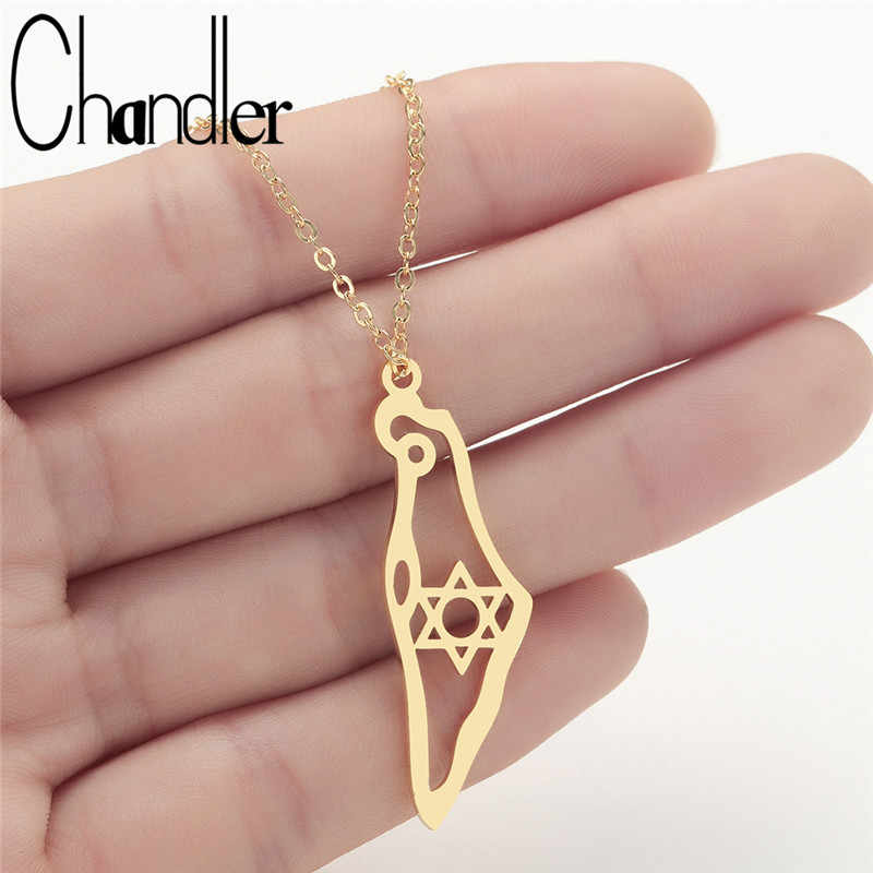 Chandler Stainless Steel Israel Map Pendant Necklace Gold Color Jewish Jewelry Map of Israel Necklaces With David Star Collars
