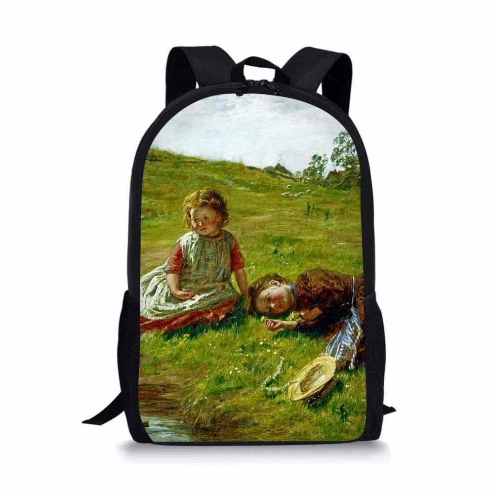 فان جوخ الشهيرة النفط اللوحة النساء الأطفال الحقائب المدرسية ل التين بوي الفتيات الطلاب حقيبة أقلام رصاص ظهره Mochila اجتماعيون محمول