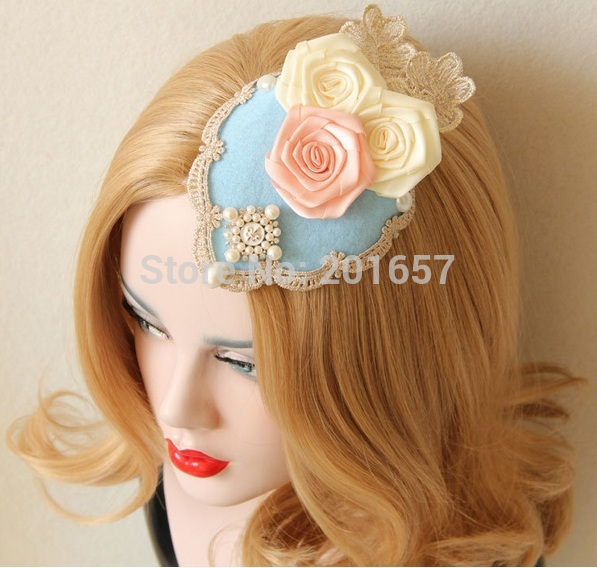 NEW Wholesale fashion velvet lace rose flower top hat clips party hairclips and barette hair accessories