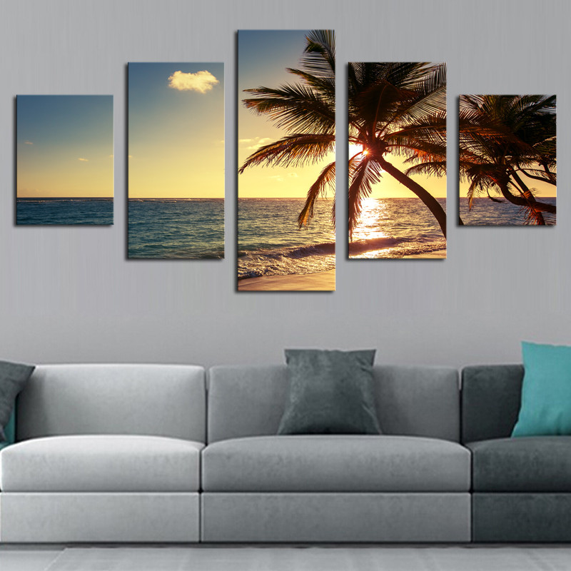 5 piece HD print Painting Sunset Beach Coconut Tree Seascape Paintings Canvas Home Decor Posters and Prints Modern Decorative