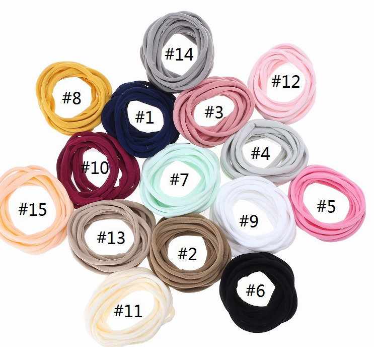 Bulk 2500pc/lot Super Soft Traceless Stretchy Thin Skinny Nylon Headbands 2cm Children Girls Kids DIY Headband Hair Accessories