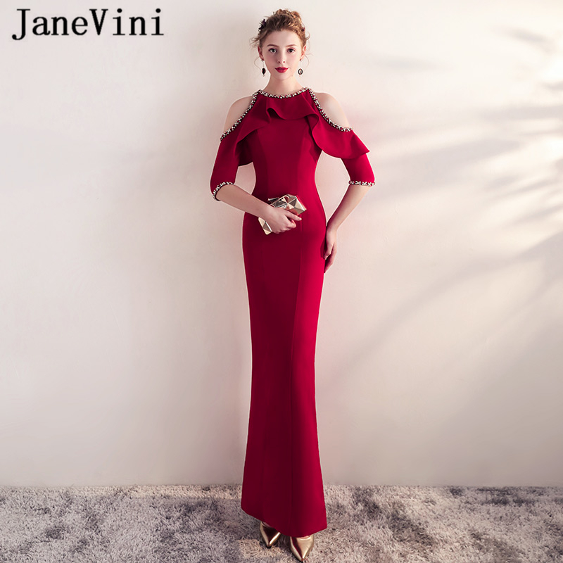JaneVini Elegant Mermaid Burgundy Long   Bridesmaid     Dresses   2018 Half Sleeve Beads Satin Side Split Formal Prom Gowns Ankle Length