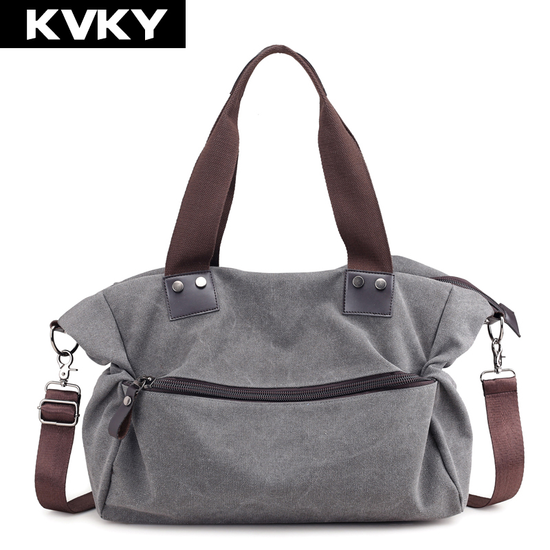 462e2ece8649 US $20.65 40% OFF KVKY Brand Women's Canvas Handbags High Quality Casual  Shoulder Bags Solid Female Crossbody Bag Tote Ladies Messenger Bag  Bolsas-in ...