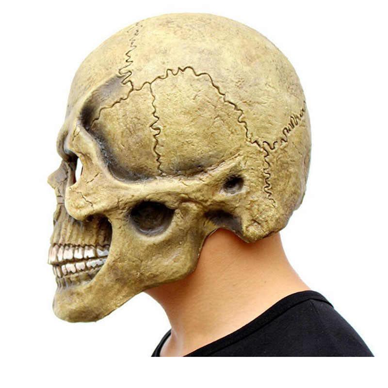 GNHYLL مخيف الجمجمة قناع كامل رئيس واقعية اللاتكس قناع حفلة الرعب الهيكل العظمي زي هالوين تنكري للكبار الرجال خوذة