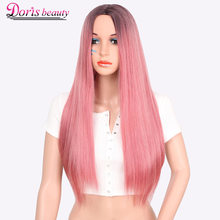 Doris beauty Synthetic Straight Ombre Wig Red Pink Green Hair for Women Cosplay Long Black Wig Heat Resistant Fiber(China)