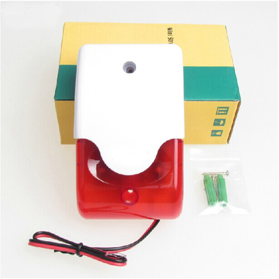 free shipping Mini Red Strobe Siren Indoor Outdoor Wired Sound 110dB Alarm Siren with Strobe flash light 12V DC
