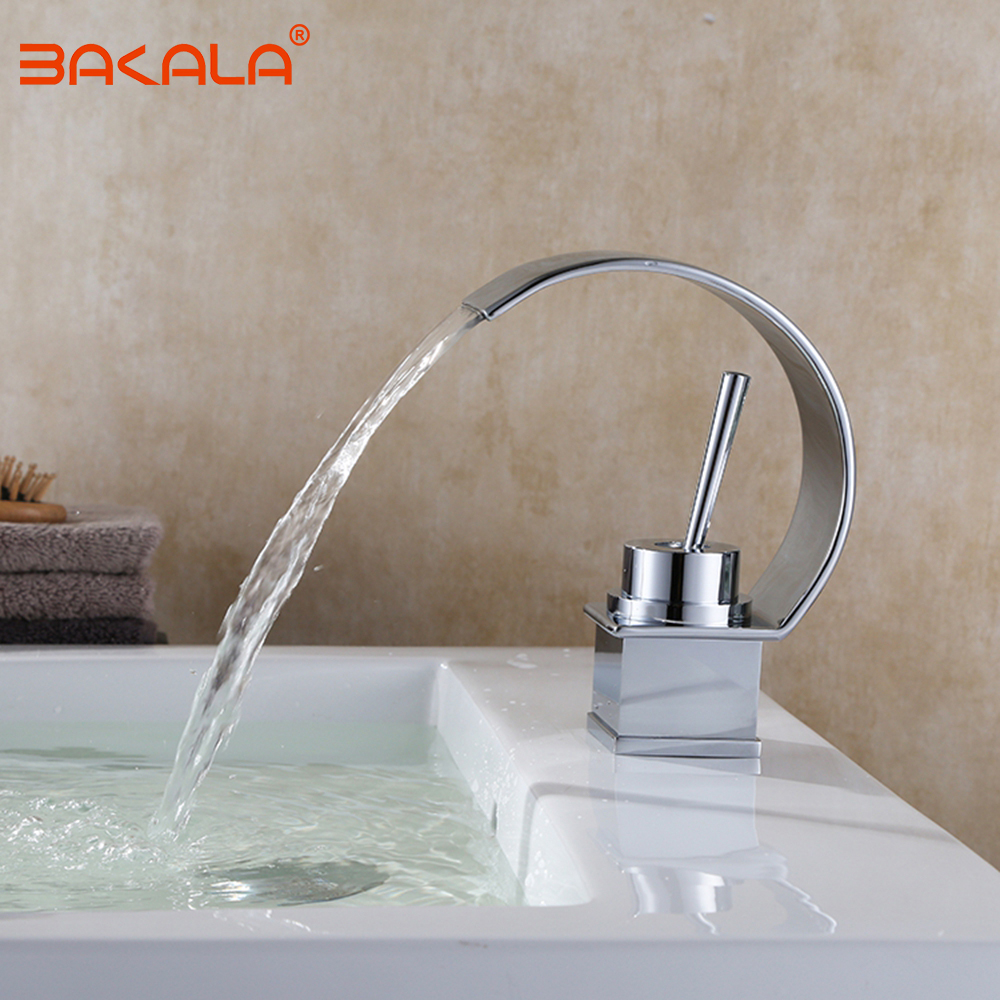 BAKALA Wholesale And Retail Deck Mount Chrome Waterfall Bathroom Faucet Vanity Vessel Sinks Mixer Tap Cold And Hot Water Tap kemaidi good quality deck mount vanity vessel sinks mixer tap cold and hot water faucet waterfall bathroom faucets
