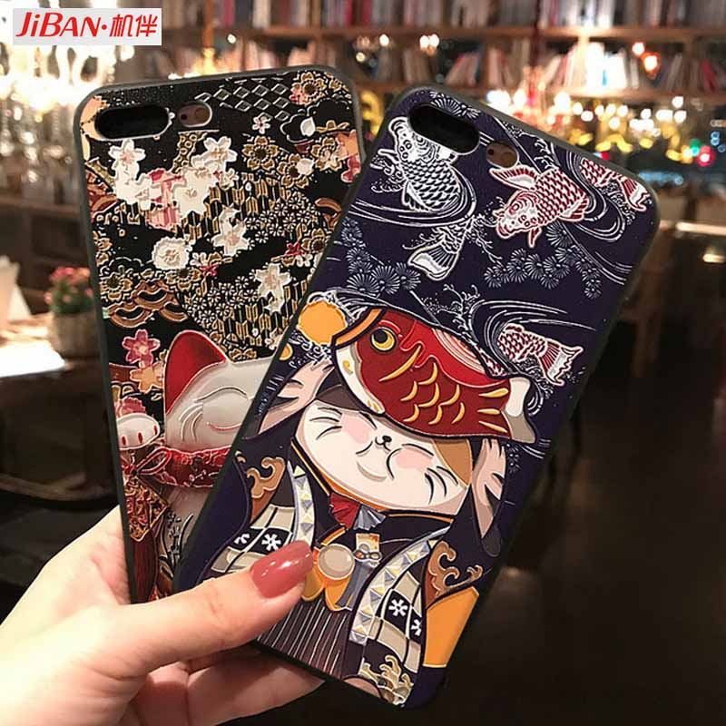 JIBAN For OPPO r17 r15 Case Soft Silicon frosted Cute Cartoon Lucky Cat Phone Case for VIVO x20 x20plus x23 x21 protective cover
