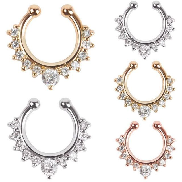 Купить женские кольца для носа кристалл поддельные перегородка пирсинг
