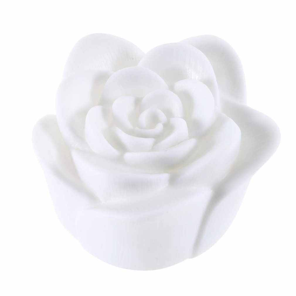High 7 Colors Flameless Changing Rose Flower Candle Sound Sensor LED Night Light LG66