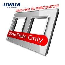 Livolo Lujo Gris Perla de Cristal, 150mm * 80mm, estándar de LA UE, Vidrio doble Panel de Interruptor De Pared y Zócalo, VL-C7-SR/SR-15