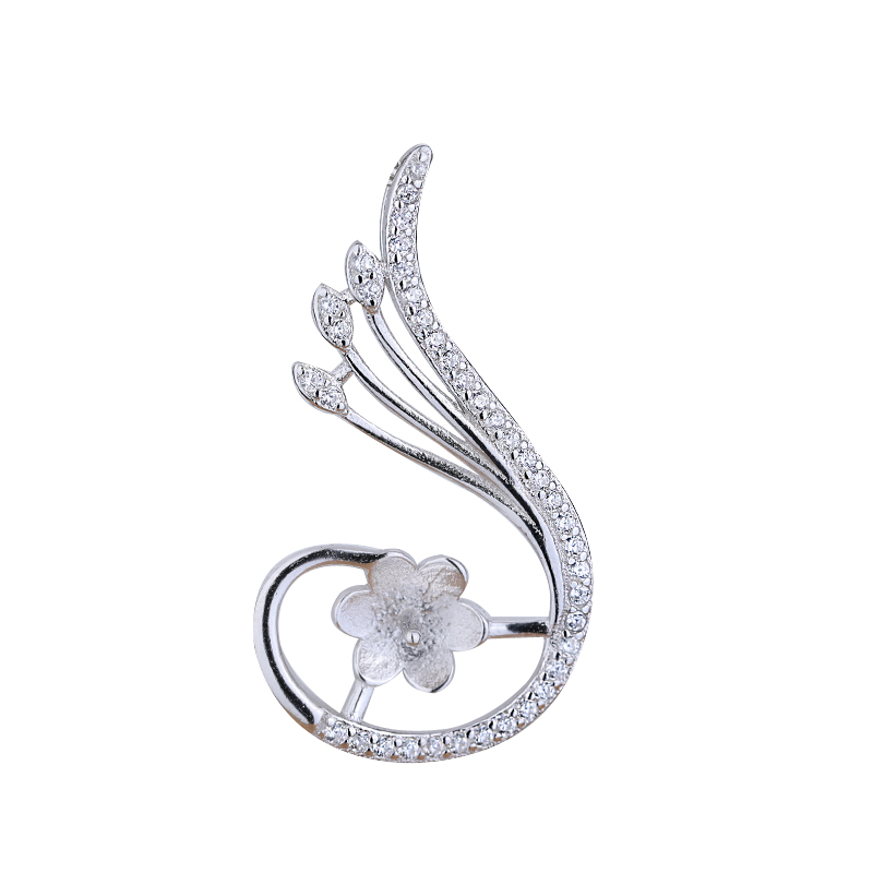 925 Sterling Silver Women Semi Mount Pendant Crystal White Gold Color Pendant for 8-12mm Pearl or Round Bead Cabochon Setting925 Sterling Silver Women Semi Mount Pendant Crystal White Gold Color Pendant for 8-12mm Pearl or Round Bead Cabochon Setting