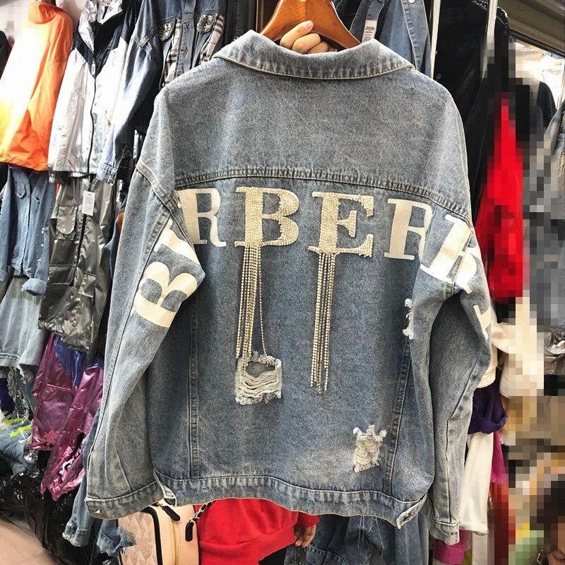 2019 Spring Letter Diamond Chain Loose Cowboy Coat Girls Lady Holes Denim Jacket Womens Jean Jackets Outwear Students Streetwear