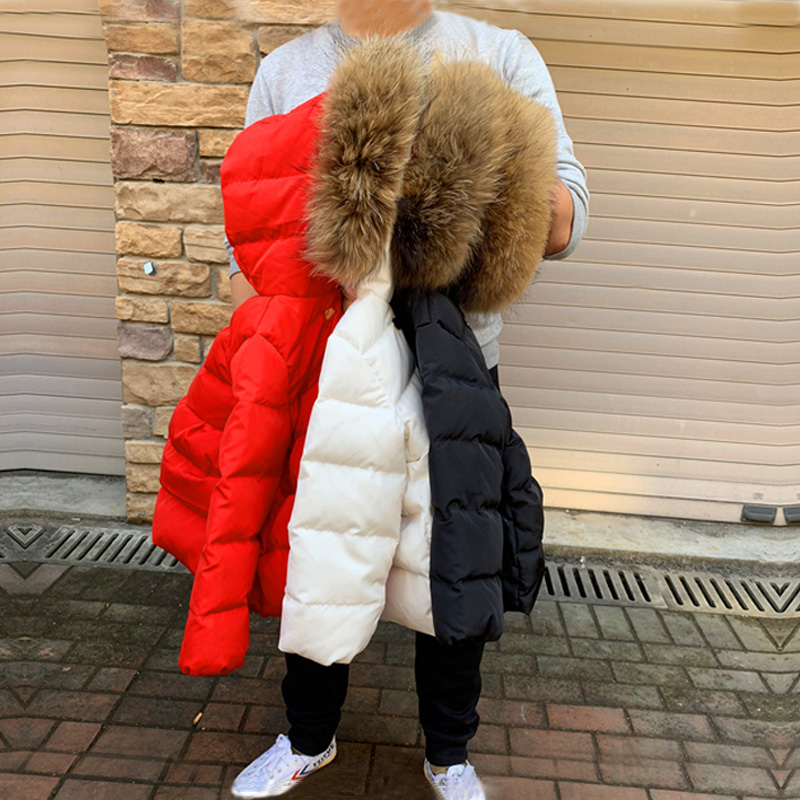 2020 Girls Winter Coats Real Fur Hooded Baby Boys Jackets White Duck Down Warm Children Outrewear Fashion Kids Snow Clothes