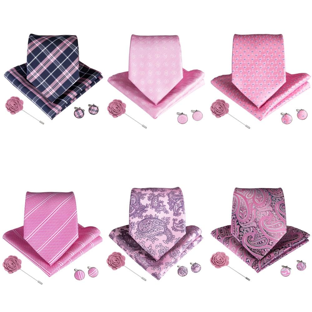 DiBanGu Hot Sale Pink Tie Hanky Cufflinks Brooch Set Neck Ties For Men Wedding Party Formal Silk Necktie Men's Tie Set