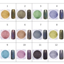 12 PCS/Set Holographic Nail Glitter Chameleon Powder Chrome Pigment Glitters Dust Mermaid Powders for Manicure Nails Art