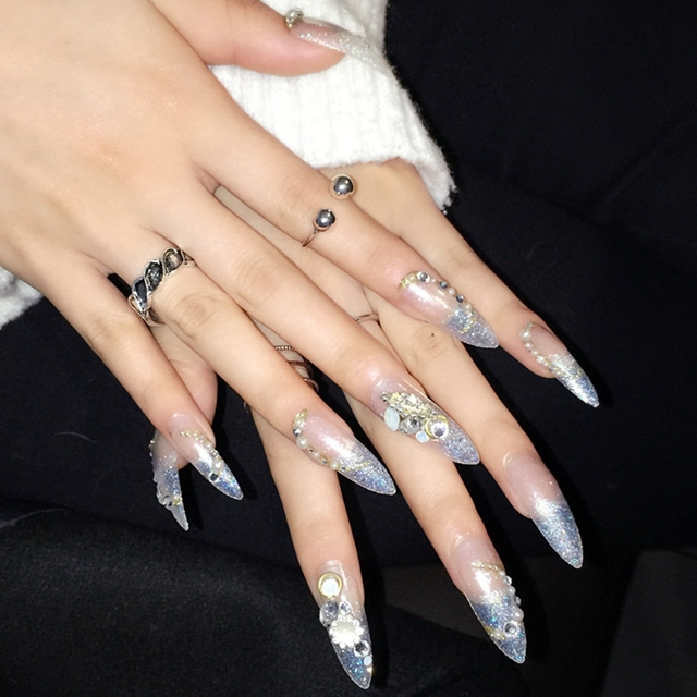 Glitter Fake Nails Point Sharp Clear Extra Long Acrylic Nail Tips Pearl Decoration Design Easy Use