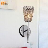 도매 새로운 현대 벽 빛 광택 크롬 홈 장식 크리스탈 벽 램프