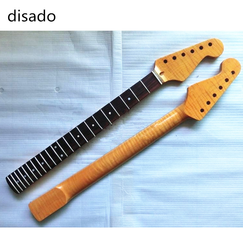 disado 22 Frets Tiger flame material maple Rosewood fingerboard Electric Guitar Neck Wholesale Guitar accessories Parts disado 24 frets inlay dots maple electric guitar neck maple fingerboard wood color black headstock guitar accessories parts
