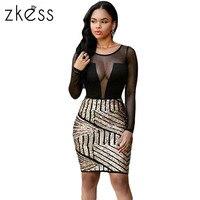 Zkess Dress Women Long Sleeve Sexy Mesh Shadow Sequin Bottom O Neck Casual Bodycon Dress Slim