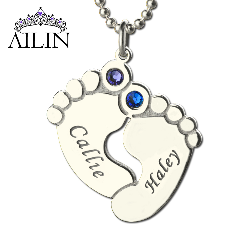 Baby Gift Jewelry For Mom : Engraved baby feet necklace personalized birthstone brand