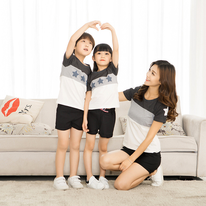 2018 New Family matching outfit home star short sleeved T shirt in Matching Family Outfits from Mother Kids
